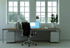 Rendu blanc moderne de la conception intérieure 3d de siège social Photographie stock