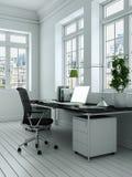 Rendu blanc moderne de la conception intérieure 3d de siège social Images libres de droits