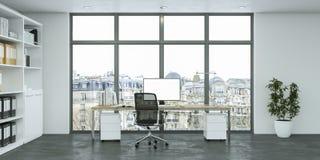 Rendu blanc moderne de la conception intérieure 3d de siège social Photos stock