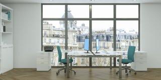 Rendu blanc moderne de la conception intérieure 3d de siège social Photo stock