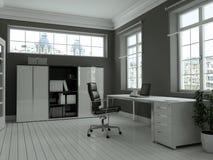 Rendu blanc moderne de la conception intérieure 3d de siège social Photo libre de droits