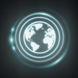 Rendu bleu blanc et rougeoyant de l'icône 3D d'Internet Image libre de droits