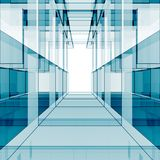 Rendu bleu du cube 3d Photographie stock