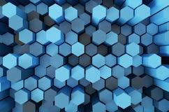 Rendu bleu du modèle 3d d'hexagone Images libres de droits