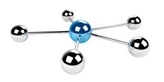 rendu bleu du réseau 3D des sphères 3D Photo stock
