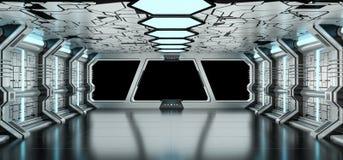 Rendu bleu et blanc de vaisseau spatial de l'intérieur 3D Photographie stock libre de droits