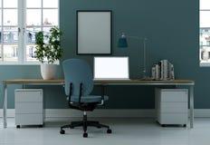 Rendu bleu moderne de la conception intérieure 3d de siège social Image libre de droits