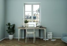 Rendu bleu moderne de la conception intérieure 3d de siège social Images stock