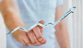 Rendu bleu numérique émouvant de la flèche 3D d'homme d'affaires Photo stock