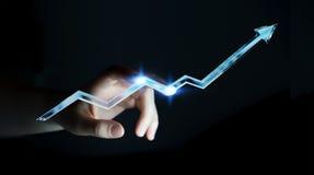 Rendu bleu numérique émouvant de la flèche 3D de femme d'affaires Photographie stock
