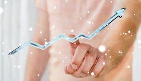 Rendu bleu numérique émouvant de la flèche 3D d'homme d'affaires Image libre de droits