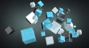 Rendu brillant bleu de flottement du réseau 3D de cube Photographie stock