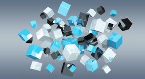 Rendu brillant bleu de flottement du réseau 3D de cube Images libres de droits