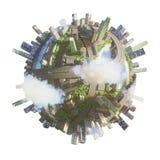 Rendu conceptuel de la ville 3d de planète Photos stock