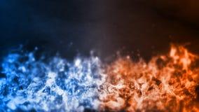 rendu 3D d'élément abstrait du feu et de glace contre contre l'un l'autre fond La chaleur et concept froid images stock