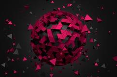 Rendu 3D abstrait de basse poly sphère illustration stock