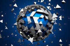 Rendu 3d abstrait de basse poly sphère avec Photos stock