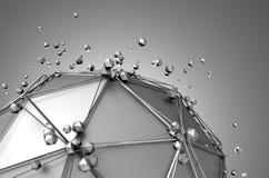 Rendu 3d abstrait de basse poly sphère en métal illustration stock