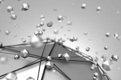 Rendu 3d abstrait de basse poly sphère en métal illustration libre de droits