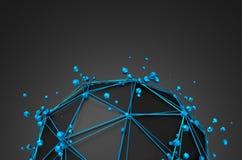 Rendu 3d abstrait de basse poly sphère noire Photo stock