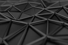 Rendu 3D abstrait de la basse poly surface noire Images stock
