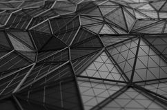 Rendu 3D abstrait de la basse poly surface noire Photos libres de droits
