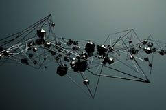 Rendu 3d abstrait de la construction métallique chaotique Photos libres de droits