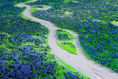 Rendu 3d abstrait de paysage avec la rivière Images stock