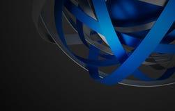Rendu 3D abstrait de sphère avec des anneaux illustration stock