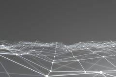 Rendu 3d abstrait de structure chaotique Fond clair avec des lignes et des sphères dans l'espace vide Forme futuriste Image libre de droits
