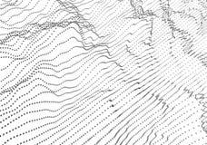 Rendu 3D abstrait des vagues avec des particules illustration stock