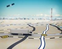 rendu 3D dépistant avec GPS Photos libres de droits