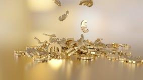rendu 3d d'euro Option dans le style d'or blanc Images stock