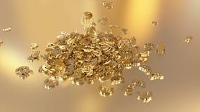 rendu 3d d'euro signes recueillant dans un tas Option dans le style d'or blanc Photo libre de droits