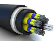 rendu 3d d'un câble optique de fibre Image libre de droits