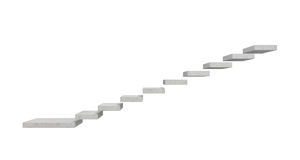 rendu 3d d'un escalier en pierre gris fait de blocs de béton distincts accrochant dans le ciel sur le fond blanc photo libre de droits