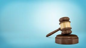 rendu 3d d'un marteau en bois foncé de juge se reposant sur un bloc sain Image libre de droits