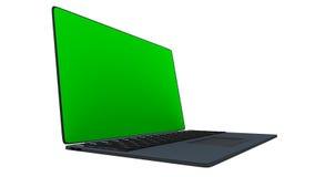 rendu 3d d'un ordinateur portable avec le vert Images libres de droits
