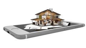 rendu 3D d'une maison moderne avec le smartphone et le modèle Image stock