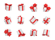 rendu 3d de beaucoup de boîte-cadeau blancs volant sur le fond blanc dans différentes vues Images libres de droits