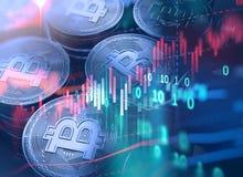 rendu 3d de Bitcoin sur le fond financier de graphique Image stock