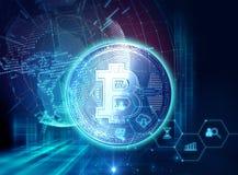rendu 3d de Bitcoin sur le fond financier de graphique Photo stock