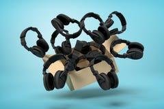 rendu 3d de boîte en carton en air plein des écouteurs noirs qui volent et flottent dehors sur le bleu illustration stock