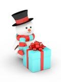 rendu 3d de bonhomme de neige avec le présent au-dessus du blanc Photographie stock libre de droits
