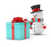 rendu 3d de bonhomme de neige avec le présent au-dessus du blanc Photos stock