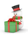 rendu 3d de bonhomme de neige avec le présent au-dessus du blanc Images stock