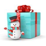 rendu 3d de bonhomme de neige avec le présent au-dessus du blanc Photo stock