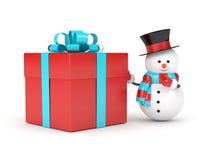 rendu 3d de bonhomme de neige avec le présent au-dessus du blanc Photographie stock