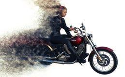 rendu 3d de cavalier de fille sur la moto photo stock
