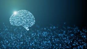 rendu 3D de cerveau cybernétique artificiel de circuit à l'intérieur de vue de côté sur le fond binaire abstrait illustration libre de droits
